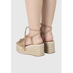 Imagem de Sandalia Anabela Flatform Corda de Amarrar Caramelo Lisa  feminino