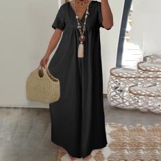 Imagem de Moda feminina algodão linho maxi vestido longo decote em V manga curta solta casual plissado babado vestido longo  L