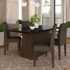 Imagem de Conjunto Sala De Jantar 1,36 Italia 4 Cadeiras Imbuia - M. Arapongas