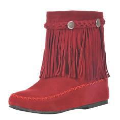 Imagem de Botas femininas estilo britânico curto com borla fosca bota cano longo National Wind