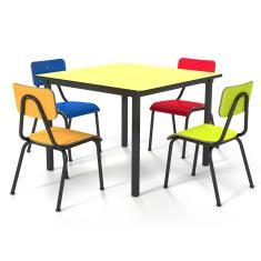 Conjunto Escolar Infantil 80x80cm Colorido Mesa