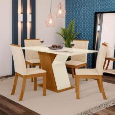 Imagem de Conjunto Sala De Jantar Mesa Tampo Mdf 4 Cadeiras Kesha Casa 812