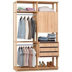 Imagem de Guarda-Roupa Closet 2 Portas 3 Gavetas 9014 Clothes Be Mobiliário