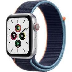 Apple Watch SE 44mm Caixa Prateada de Alumínio e Pulseira Caixa Prateada de Alumínio e Pulseira Marinho
