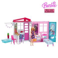 Imagem de Casa Boneca Tema e Escala Barbie Adesivada Mobiliada com Boneca Acessórios Portátil Original Mattel
