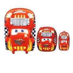 Imagem de Mochila Infantil Carros Rodinhas Kit Com Lancheira E Estojo -