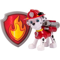 Boneco Patrulha Canina Marshall Figuras com Distintivos - Sunny