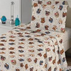 Imagem de Jogo de Cama Teka Solteiro 2 peças 120 Fios Teka Kids Dogs