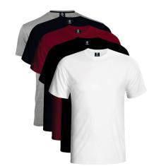 Imagem de Kit 5 Camisetas Algodão 30.1 Masculina Basic Malha Premium