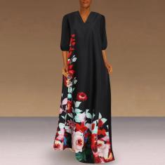 Imagem de Vestido longo feminino com estampa floral 3/4 manga decote em V de seda glacial casual solto vestido maxi plus size  M