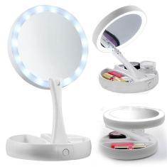 Imagem de Espelho Maquiagem Led Dobrável Aumenta 10x 1x Foldaway