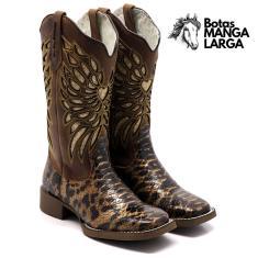 Imagem de Bota Texana Feminina Em Couro Legitimo Bico Quadrado Laser Cobra