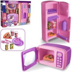 Imagem de Kit Cozinha Infantil Com Geladeira, Microondas e Acessórios Kitchen Show 15 Pecas - Zuca Toys