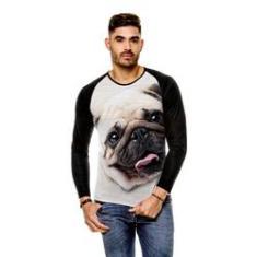 Imagem de Camiseta Raglan Cachorro Pug Bege Manga Longa