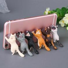 Imagem de Suporte de mesa para celular de gato, acessórios fofos para telefones celulares em pvc suporte para
