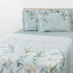 Imagem de Jogo De Cama Queen Peônias 4 Peças Percal 200 Fios em cetim 100% algodão - Casa & Conforto