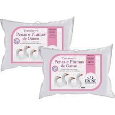 Imagem de Kit 02 Travesseiros 95% Penas 5% Plumas de Ganso 50x70cm Daune