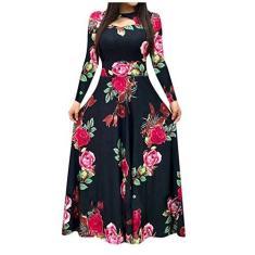 Imagem de Vestidos femininos para trabalho, casual, estampa floral, boho, vestido longo, , XXG