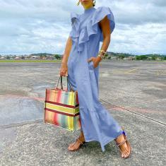 Imagem de Vestido comprido 3 cores feminino com babados de verão sem mangas vestido longo vestido elegante vestido maxi solto  M