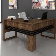 Imagem de Mesa Em L Escrivaninha Home Office Tecno Nogal