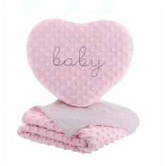 Imagem de Edredom baby em relevo com almofada coração feminino jolitex REF:16.0827 75 X 1,00