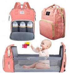 Imagem de Bolsa Mochila Maternidade Multifuncional Com Berço Dobrável e Trocador De fraldas