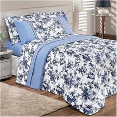 Imagem de Kit Edredom Floral  King Size 3 Peças 2,80m x 2,60m com 2 Porta travesseiros