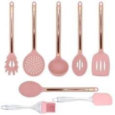 Imagem de Kit Jogo Colheres De Silicone  Rose Gold 8 Peças Cozinha