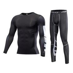 Imagem de 1Bests Camiseta masculina de compressão, esportiva, manga comprida, elástica, de secagem rápida, conjunto Elite, Barra , XXG