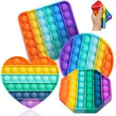 Imagem de Kit 4PCS Pop em It Your Push Pop Rainbow Bubble Fidget, Anti Stress Toy