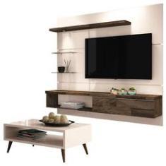 Imagem de Painel para TV Home Suspenso Ores 1.8 e Mesa de Centro Lucy Off White – HB Móveis