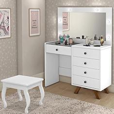Imagem de Penteadeira Camarim Com Espelho Banqueta e Led Luapa Móveis Luna Branca