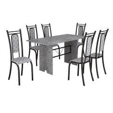 Imagem de Conjunto de Mesa Teixeira tampo e pés de granito ocre com 6 cadeiras craqueadas -