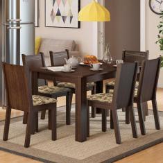 Imagem de Conjunto Sala De Jantar Madesa Maris Mesa Tampo De Madeira Com 6 Cadeiras