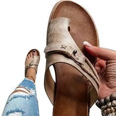 Imagem de Sandália ortopédica feminina, Jolixieye correção, tecido de PVC, bico aberto, chinelos de salto plano, praia, casual de verão