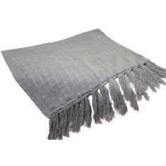 Manta Para Sofá Cinza Claro Xale Protetor Sofa Em Algodão