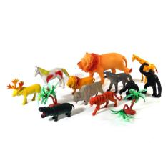 Imagem de Kit Miniatura Brinquedo Animais Selvagens Selva Borracha