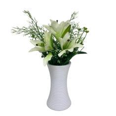 Imagem de Vaso Cerâmico  Alto 3D Com Flor Lírio Artificial