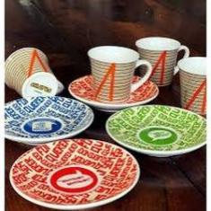 Imagem de Jogo de 9 peças Xícara de café de porcelana e suporte Chaves 60ml