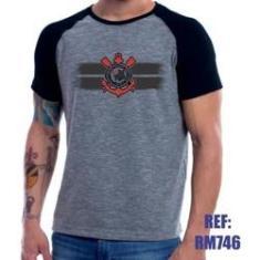Imagem de Camisa Raglan Corinthians Personalizada Com Nome Mescla
