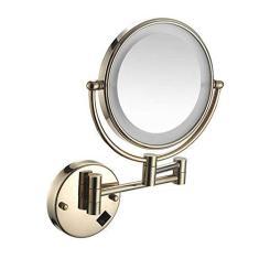 Imagem de Espelho brilhante Vanity para banheiro, espelho de barbear, espelho de barbear montado na parede, espelho de maquiagem iluminado por LED de 20 cm, espelho de aumento de 5 vezes, espelho de penteadeira, espelho de instalação oculto, rotação de 360° livre