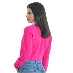 Imagem de Camisa Social Feminina Manga Longa na Cor Pink Tecido Viscose.