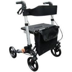Imagem de Andador para Adulto ou Idoso com Assento 4 Rodas Dobrável em Alumínio
