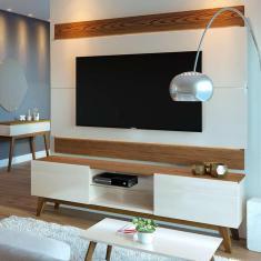 Imagem de Rack Com Painel Para Tv Até 60 Polegadas Classic Off White Com Freijó Touch 180 Cm