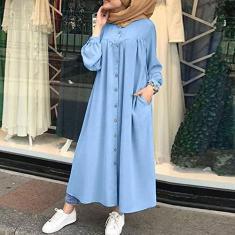 Imagem de Eastdall Vestido Camisa Maxi,Camisa social feminina vintage Kaftan de botão com bolso interno colarinho plissado manga lanterna casual solto vestido plus size