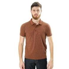 Imagem de Camiseta Masculina Gola Polo Piquet Maquinetada Quadrados Laranja