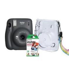 Kit Câmera Instantânea Fujifilm Instax Mini 11 Grafite + Case Crystal + Filme 10 poses