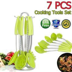 Imagem de 7 pcs Home Kitchen Suprimentos Inoxidáveis Aço Inoxidável Conjunto de Utensílios de Cozinha com Suporte Rotativo Colher Espátula Coador de Sopa