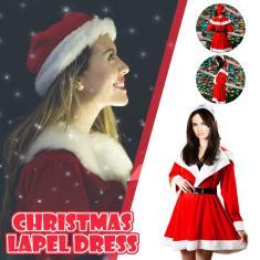 Imagem de Vestido feminino de lapela grande de veludo  de Natal  tamanho único
