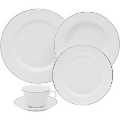 Aparelho de Jantar Redondo de Porcelana 30 peças - Flamingo Isabel Oxford Porcelanas